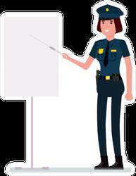 Police Officer Giving Presentation Sticker
