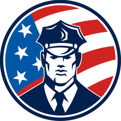 Police Officer With USA Flag Circle Sticker