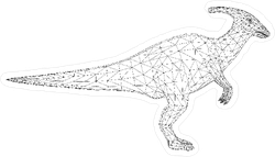 Polygon Line Art Dinosaur Sticker