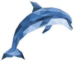 Polygonal Dolphin Jumping Sticker