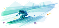Polygonal Illustration Of Man Slalom Skiing Sticker