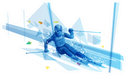 Polygonal Illustration Of Woman Slalom Skiing Sticker
