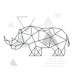 Polygonal Rhino On Abstract Background With Triangles Sticker