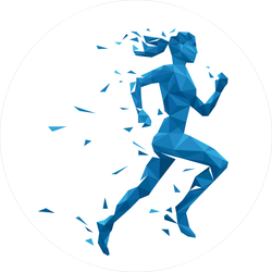 Polygonal Running Woman Sticker