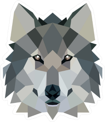 Polygonal Style Illustration Wolf Sticker