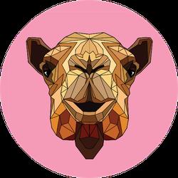Polygonal Stylization Illustration Pink Camel Sticker