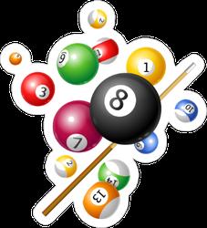 Pool Billiards Colorful Sticker