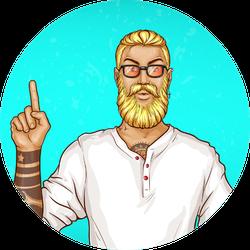 Pop Art Blonde Haired Man With Beard Sticker
