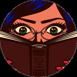 Pop Art Comic Book Style Bookworm Sticker