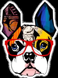 Pop Art French Bulldog Wearing Glasses Stickers