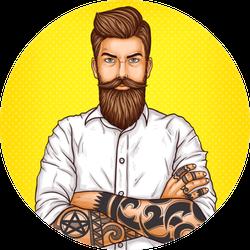 Pop Art Illustration Of Brutal Bearded Man Sticker