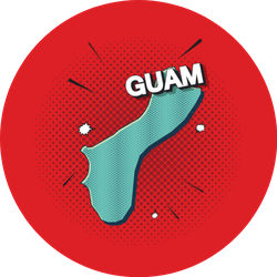 Pop Art Map Of Guam On Red Sticker