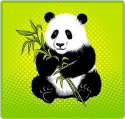 Pop Art Panda Bear With Bamboo Sticker