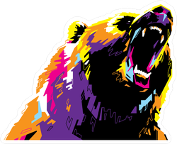 Pop Art Portrait Of Aggressive Bear Sticker