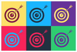 Pop Art Target With Arrow And Target Archery Icon Sticker