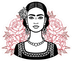 Portrait of a Beautiful Mexican Girl Sticker