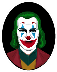 Portrait Of A Clown With Green Hair And Red Nose Sticker