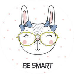 Portrait Of A Cute Funny Cartoon Bunny Girl In Glasses Sticker
