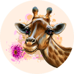 Portrait Of A Giraffe Holding A Flower In Its Mouth Sticker