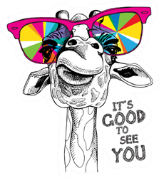 Portrait Of A Giraffe It's Good To See You Lettering Sticker