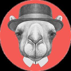 Portrait Of Camel With Hat Orange Sticker