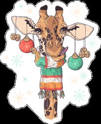 Portrait Of Cute Giraffe In Christmas Accessories Sticker