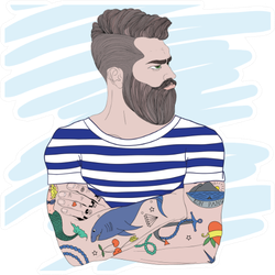 Portrait Of Fashion Bearded Man Sailor Sticker