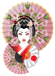 Portrait Of Geisha With Oriental Fan Sticker