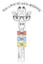 Portrait Of Giraffe Wear Bow Ties And Be Awesome Sticker