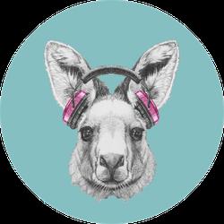 Portrait Of Kangaroo With Headphones Blue Sticker