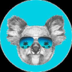 Portrait Of Koala With Mirror Sunglasses Sticker