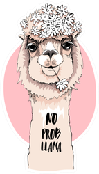 Portrait Of Llama With A Chamomile Flowers Sticker