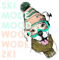 Portrait Of Pit Bull Dog Ski Mode Mood Sticker
