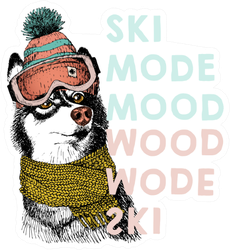 Portrait Of Siberian Husky Dog Ski Mode Mood Sticker