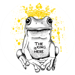 Poster With A Picture Of A Frog Wearing A Yellow Crown Sticker