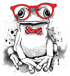 Poster With A Picture Of A Frog Wearing Glasses Sticker