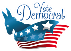 Poster With Patriotic Donkey Silhouette Democrat Sticker