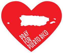 Pray For Puerto Rico Heart Sticker