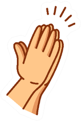 Praying Hands Drawn In Simple Line Icon Sticker