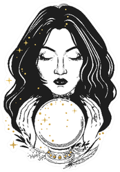 Pretty Fortune Teller Looking Through A Crystal Ball Sticker