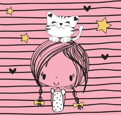 Pretty Girl With Cat Sticker