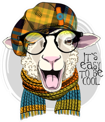 Pretty Sheep With Glasses, Knitted Scarf And Checkered Cap Sticker