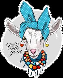 Pretty White Goat With Blue Turban Cute Goat Sticker