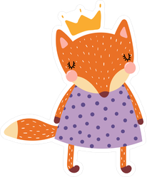 Princess Fox in Purple Dress Sticker