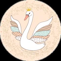 Princess Swan Doodle Illustration Sticker