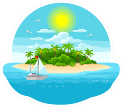Private Island and Yacht Ocean Sticker