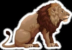Profile Of Sitting Lion Sticker