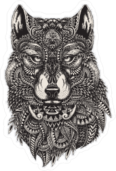 Proud Zentangle Wolf Sticker