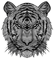 Psychedelic Black and White Tiger Sticker