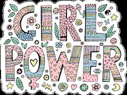 Psychedelic Hippie Girl Power Lettering Sticker